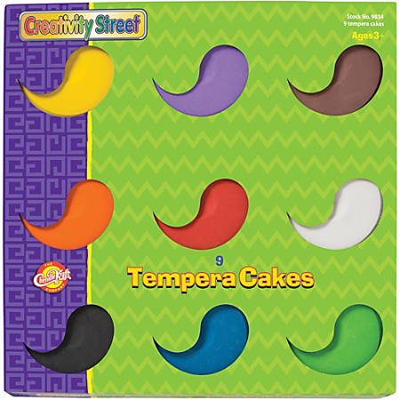 Creativity Street Tempera Paint Blocks - 9 / Set - Assorted, Yellow, Green, White, Black, Brown, Purple, Orange