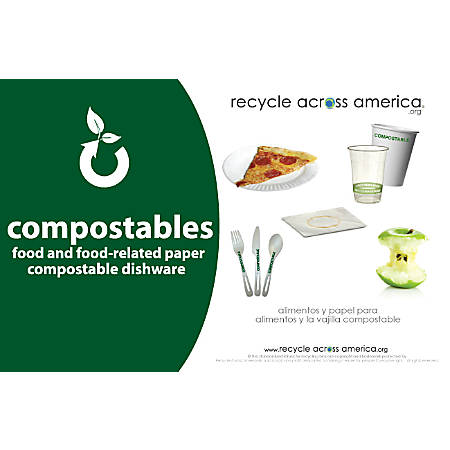 """Recycle Across America Compostables Standardized Recycling Labels, COMPS-5585, 5 1/2"""" x 8 1/2"""", Dark Green"""