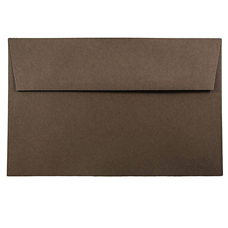 """JAM Paper® Booklet Invitation Envelopes, A9, 5 3/4"""" x 8 3/4"""", 100% Recycled, Chocolate Brown, Pack Of 25"""