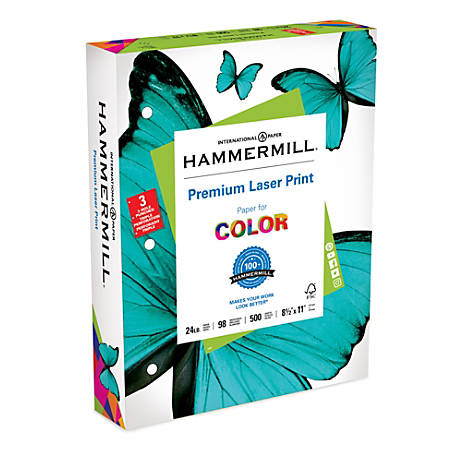 """Hammermill® Laser Paper, 3-Hole Punched, 8 1/2"""" x 11"""", 24 Lb, Pack Of 500 Sheets"""