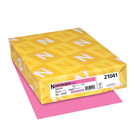 Astrobrights Colored Card Stock Bright Color Cover Paper 8 1 2 X 11 Fsc Certified 65 Lb Pulsar Pink Pack Of 250 Sheets Item 255913