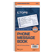 TOPS Phone Message Book 2 Part