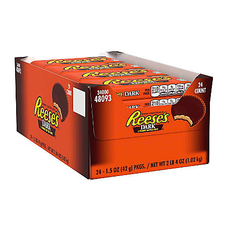 Reese's Dark Chocolate Peanut Butter Cups, Box Of 24