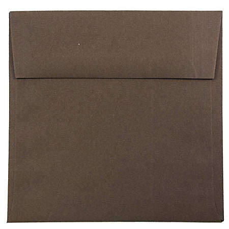 "JAM Paper® Color Square Invitation Envelopes, 6"" x 6"", 100% Recycled, Chocolate Brown, Pack Of 25"