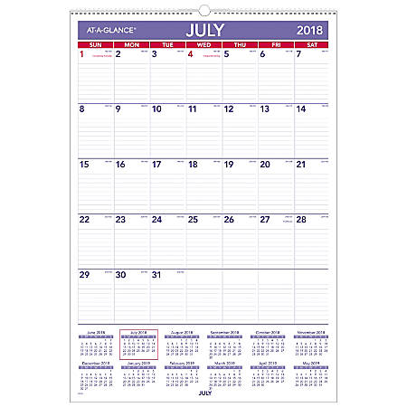at a glance academic monthly wall calendar 15 12 x 22 34 30percent