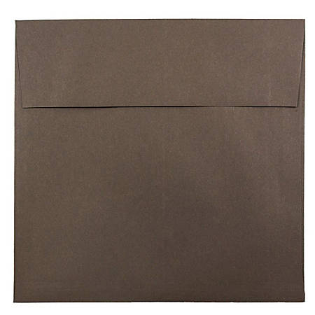 "JAM Paper® Color Square Invitation Envelopes, 8 1/2"" x 8 1/2"", 100% Recycled, Chocolate Brown, Pack Of 25"
