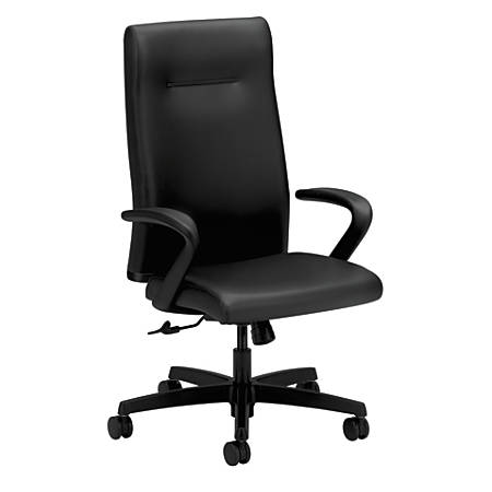 HON® Ignition Series Leather High-Back Chair, Black