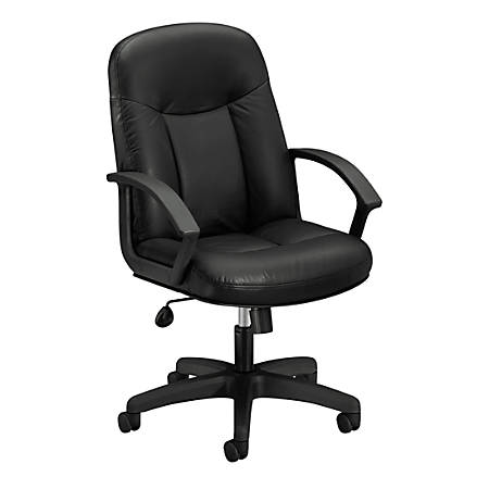 basyx by HON® HVL601 Leather High-Back Chair, Black