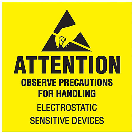 "Tape Logic® Preprinted Shipping Labels, DL1369, Attention ? Observe Precautions, Square, 2"" x 2"", Fluorescent Yellow/Black, Roll Of 500"