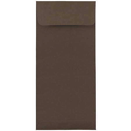 """JAM Paper® Policy Envelopes, #10, 4 1/8"""" x 9 1/2"""", 100% Recycled, Chocolate Brown, Pack Of 25"""