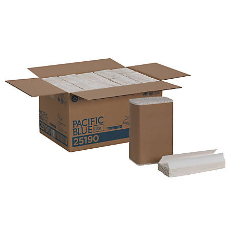Pacific Blue Basic™ By GP PRO™ C-Fold Paper Towels, 100% Recycled, White, 240 Sheets Per Pack, Pack Of 10