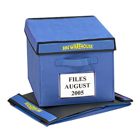 "Bin Warehouse Fold-A-Tote, 9-Gallon Capacity, 10 1/2"" x 12"" x 16"", Blue, Pack Of 6"