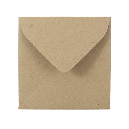 """JAM Paper® Square Invitation Envelopes (Recycled), 3 1/8"""" x 3 1/8"""", 100% Recycled, Brown Kraft Paper Bag, Pack Of 25"""