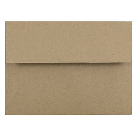 "JAM Paper® Booklet Invitation Envelopes (Recycled), A6, 4 3/4"" x 6 1/2"", 100% Recycled, Brown, Pack Of 25"