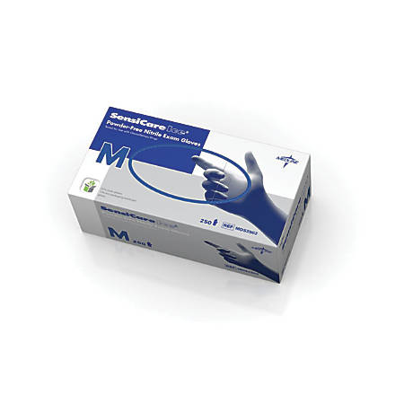 SensiCare Ice Powder-Free Nitrile Exam Gloves, Medium, Violet Blue, 250 Gloves Per Box, Case Of 10 Boxes