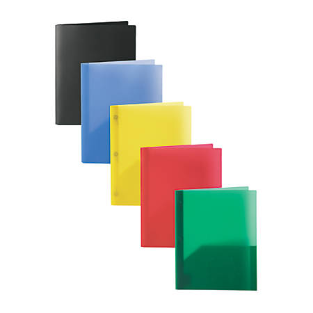 "Office Depot® Brand Poly 2-Pocket Portfolios With Prongs, 8 1/2"" x 11"", Assorted Colors, Pack Of 10"