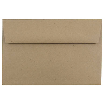 "JAM Paper® Booklet Invitation Envelopes, A9, 5 3/4"" x 8 3/4"", 100% Recycled, Brown, Pack Of 25"
