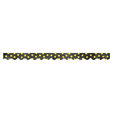 "Creative Teaching Press Chalk It Up Dots Border - (Scalloped Border) Shape - Dots - 2.25"" Width x 420"" Length - Black, Yellow - 1 Each"