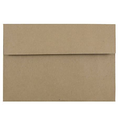 """JAM Paper® Booklet Invitation Envelopes, A10, 6"""" x 9 1/2"""", 100% Recycled, Brown, Pack Of 25"""