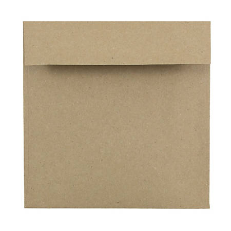 """JAM Paper® Square Invitation Envelopes (Recycled), 6"""" x 6"""", 100% Recycled, Brown Kraft Paper Bag, Pack Of 25"""