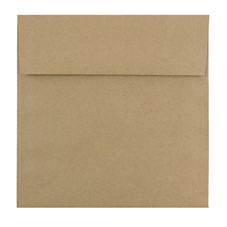 "JAM Paper® Square Invitation Envelopes (Recycled), 8 1/2"" x 8 1/2"", 100% Recycled, Brown Kraft Paper Bag, Pack Of 25"