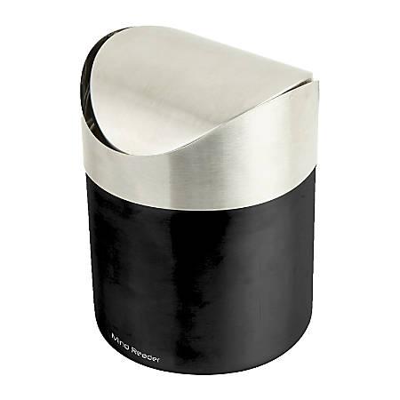 Mind Reader Oval Stainless-Steel Desktop Trash Collector, 0.4 Gallons, Black