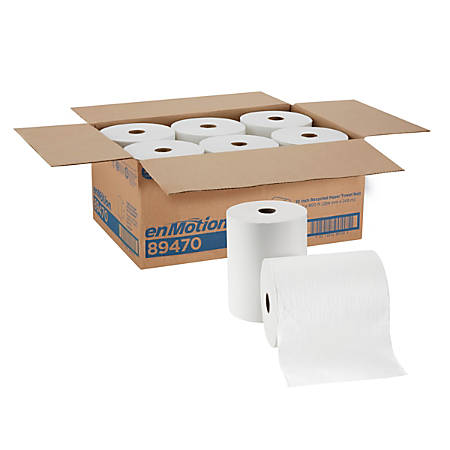 """enMotion by GP Pro Paper Towel Rolls, 10"""" x 800', 100% Recycled, White, Pack Of 6 Rolls"""