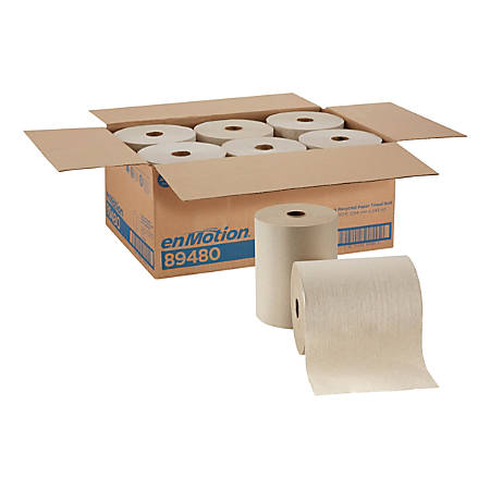 """enMotion by GP Pro Paper Towel Rolls, 10"""" x 800', 100% Recycled, Brown, Pack Of 6 Rolls"""