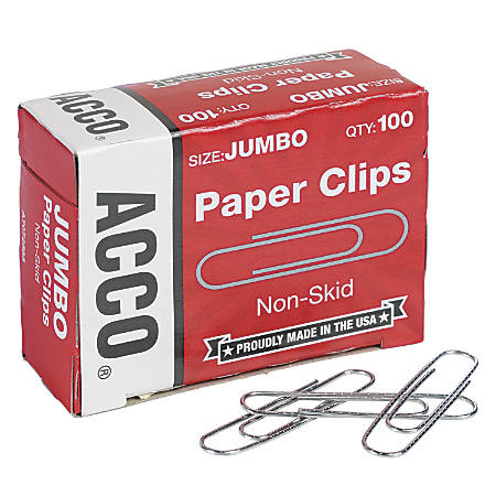 """ACCO® Economy Jumbo Paper Clips, Nonskid Finish, 1 7/8"""", Silver, Pack Of 1,000"""