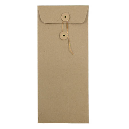 "JAM Paper® Policy Envelopes With Button & String Closure, #10, 4 1/8"" x 9 1/2"", 100% Recycled, Brown, Pack Of 25"