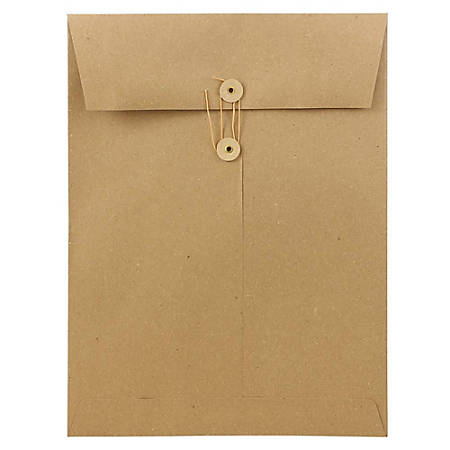 "JAM Paper® Open-End Catalog Envelopes With Button & String Closure, 9"" x 12"", 100% Recycled, Brown Kraft, Pack Of 25"