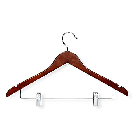 Honey-Can-Do Wood Suit Hangers With Clips, Cherry, Pack Of 12