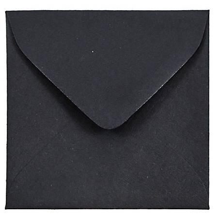 "JAM Paper® Square Linen Envelopes, 3 1/8"" x 3 1/8"", 30% Recycled, Black, Pack Of 25"