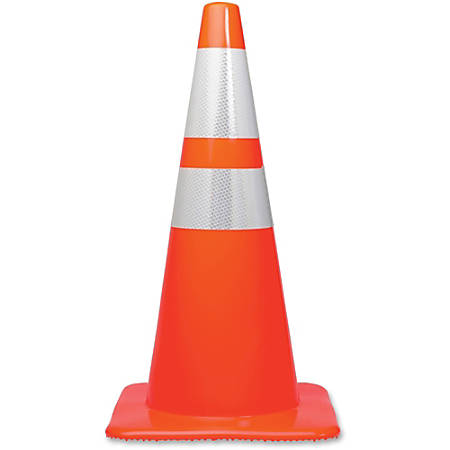 "Tatco 28"" Traffic Cone - 1 / Each - 28"" Height - Cone Shape - Stackable, Sturdy - Orange, Silver"