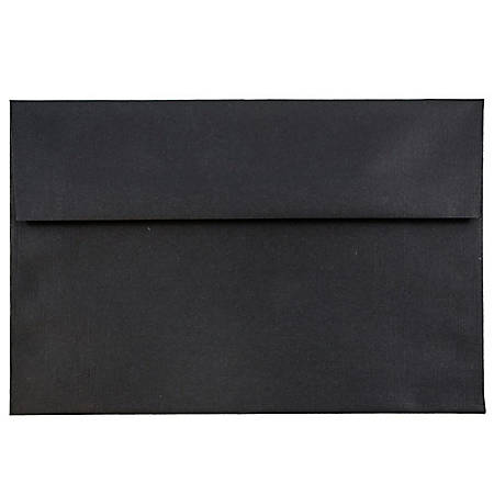 """JAM Paper® Booklet Invitation Envelopes (Recycled), A7, 5 1/4"""" x 7 1/4"""", 30% Recycled, Black, Pack Of 25"""