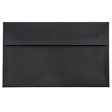 "JAM Paper® Booklet Invitation Envelopes, A9, 5 3/4"" x 8 3/4"", 30% Recycled, Black, Pack Of 25"