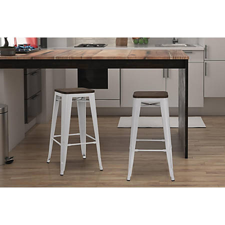 Surprising Dhp Fusion Backless Bar Stool White Item 257039 Andrewgaddart Wooden Chair Designs For Living Room Andrewgaddartcom
