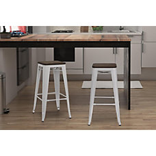 DHP Fusion Backless Bar Stool White