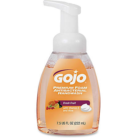 Gojo Premium Foam Antibacterial Handwash - Fresh Fruit Scent - 7.5 fl oz (221.8 mL) - Pump Bottle Dispenser - Kill Germs - Hand - Translucent Apricot - Anti-bacterial, Rich Lather - 6 / Carton