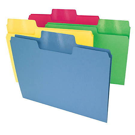 Smead® Erasable SuperTab® File Folders, Letter Size, 1/3 Cut, Assorted Colors, Pack Of 24