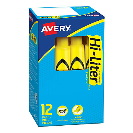 Avery® Hi-Liter® Desk-Style Highlighters, Yellow, Box Of 12