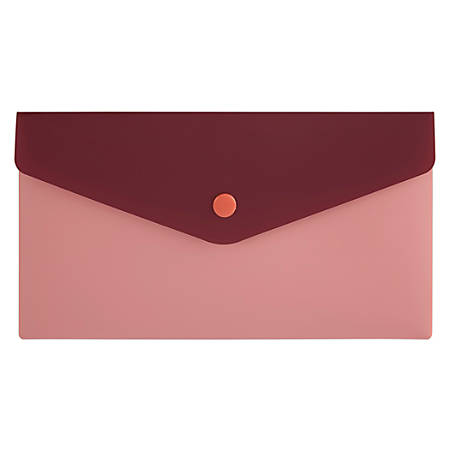 "Office Depot® Poly Envelope, 5-1/2"" x 8-1/2"", Burgundy/Pink"