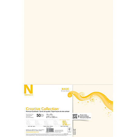 "Neenah® Creative Collection™ Specialty Card Stock, 11"" x 17"", 80 Lb, FSC® Certified, Natural White, Pack Of 50"