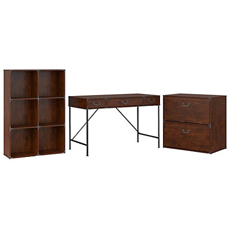 """kathy ireland® Office by Bush Furniture Ironworks 48""""W Writing Desk, 6 Cube Bookcase, And Lateral File Cabinet, Coastal Cherry, Standard Delivery"""