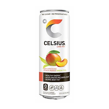 Celsius Sparkling Peach Mango Fitness Drinks, 12 Oz, Pack Of 12