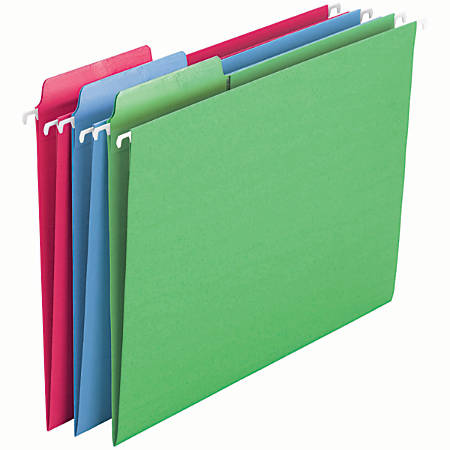 Smead® Erasable FasTab® Hanging Folders, Letter Size, Assorted Colors, Box Of 18
