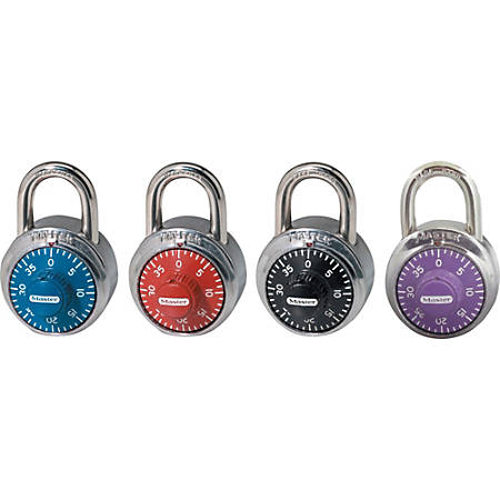 "Master Lock Colored Dial Combination padlocks - 3 Digit - 0.28"" Shackle Diameter - Cut Resistant - Stainless Steel Body, Steel Shackle - Black, Red, Purple, Blue - 1 Each"