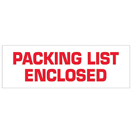 """Tape Logic® Packing List Enclosed Preprinted Carton Sealing Tape, 3"""" Core, 2"""" x 55 Yd., Red/White, Case Of 36"""