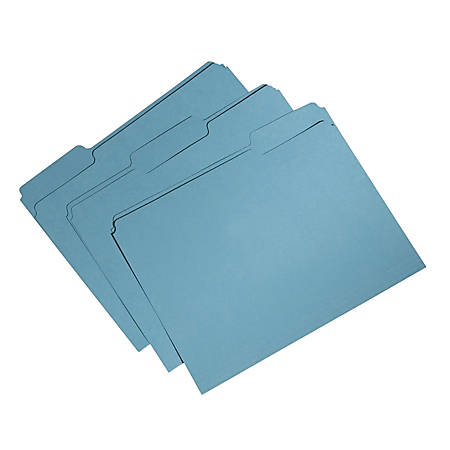 SKILCRAFT® Single-Ply Top File Folders, 100% Recycled, Blue, Box Of 100 (AbilityOne 7530-01-566-4131)