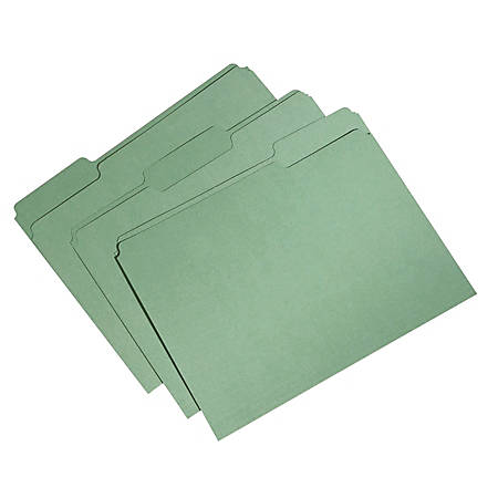 SKILCRAFT® Single-Ply Top File Folders, 100% Recycled, Green, Box Of 100 (AbilityOne 7530-01-566-4132)